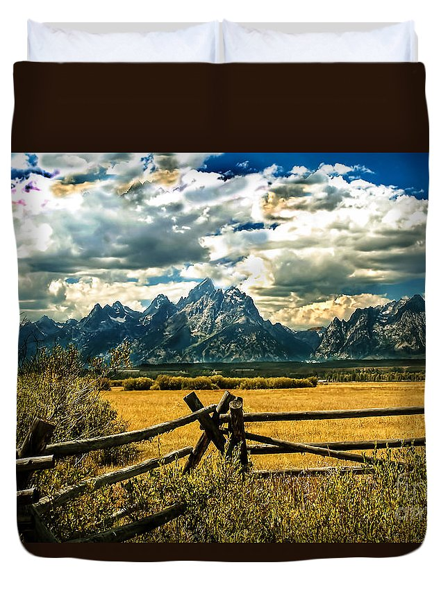 Fence Duvet Cover featuring the photograph The Tetons by Robert Bales