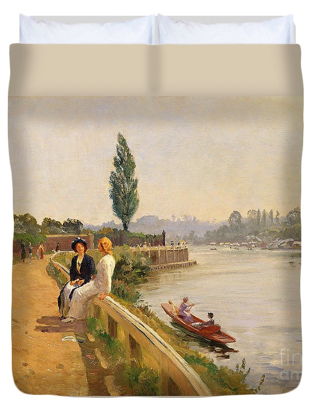 River Duvet Cover featuring the painting The Thames At Hampton Court by John Arthur Black