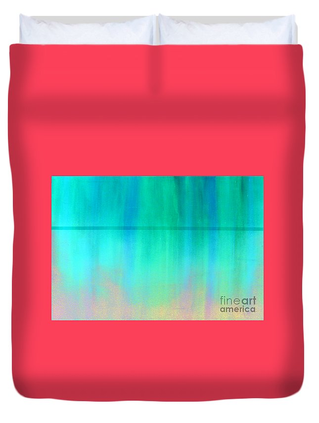 Abstract Duvet Cover featuring the painting The Thin Red Line by Albert Puskaric