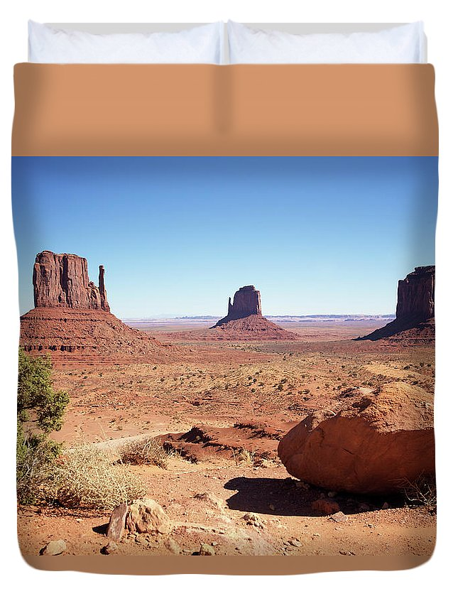 Geology Duvet Cover featuring the photograph The Three Sisters At Monument Valley by Focus on nature
