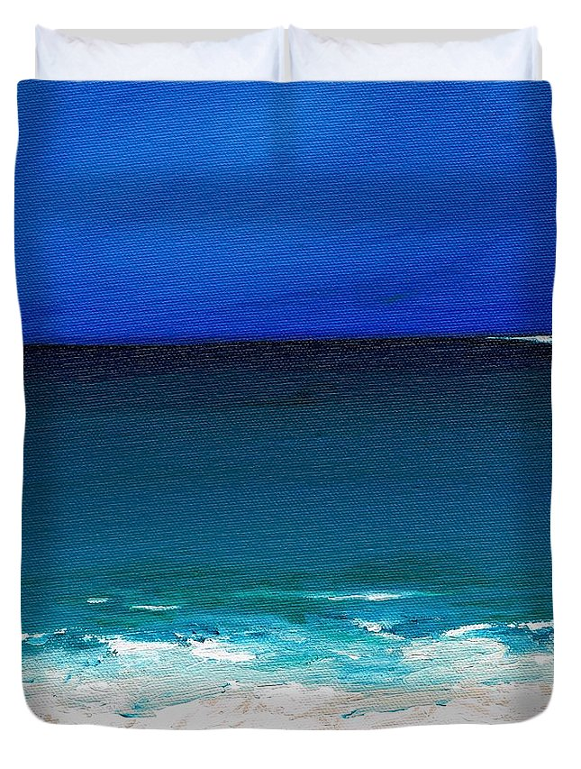 Seashore Duvet Cover featuring the painting The Tide Coming In by Frances Marino