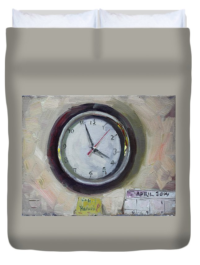 Time Duvet Cover featuring the painting The Times by Ylli Haruni