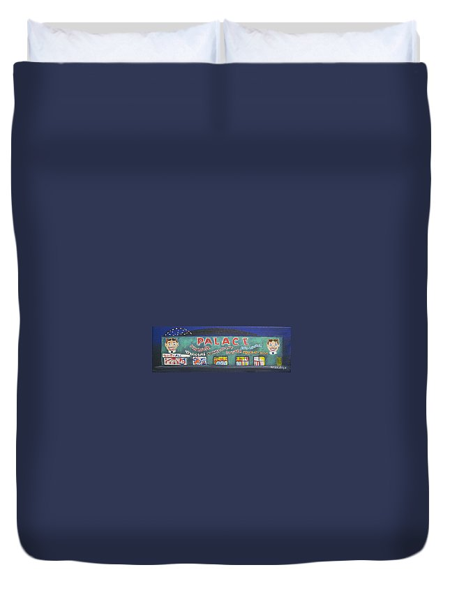 Tillie Of Asbury Park Duvet Cover featuring the painting The Tiny Tiny Palace by Patricia Arroyo