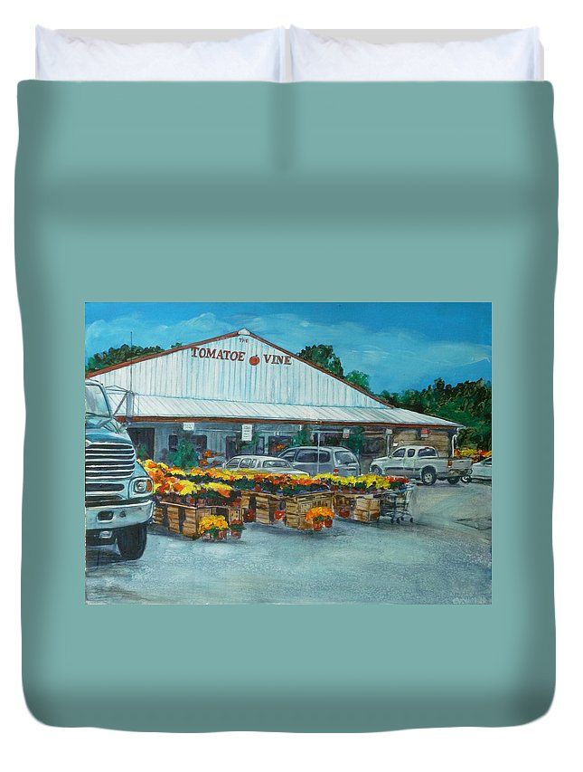 Vegetable Stand Duvet Cover featuring the painting The Tomatoe Vine by Bryan Bustard