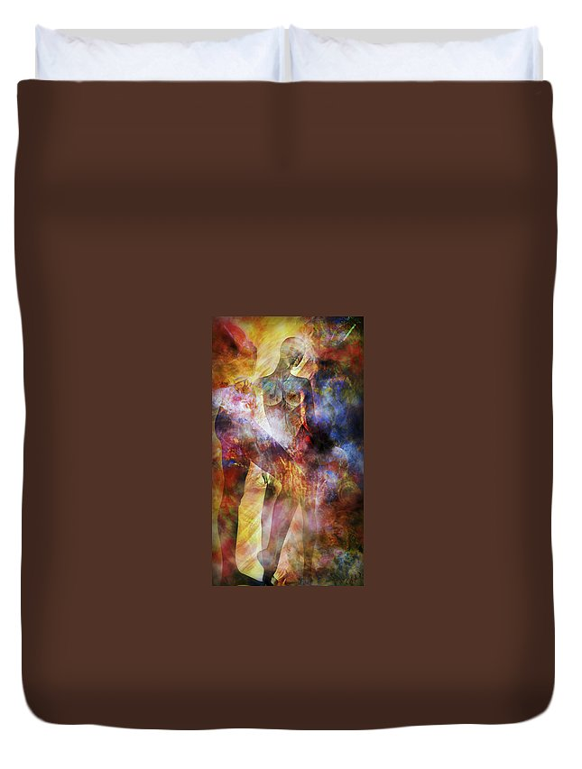 Nude Duvet Cover featuring the mixed media The Touch by Ally White