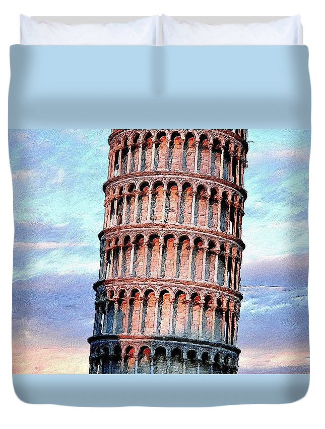 Tower Duvet Cover featuring the painting The Tower Of Pisa by Florian Rodarte