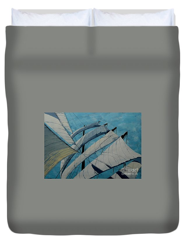Sails Duvet Cover featuring the painting The Tower Of Power by Anthony Dunphy