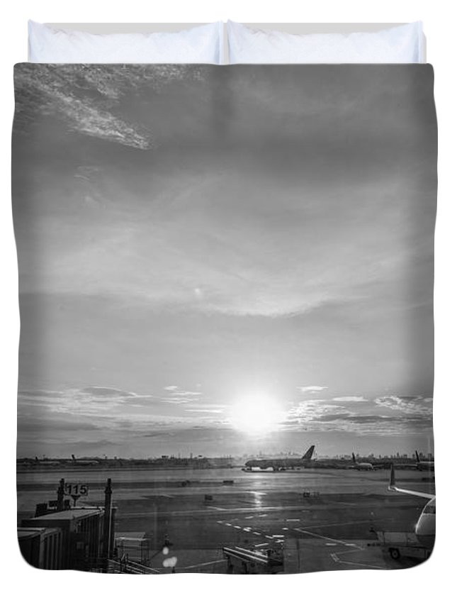 The Traveler Duvet Cover featuring the photograph The Traveler Bw by Michael Ver Sprill