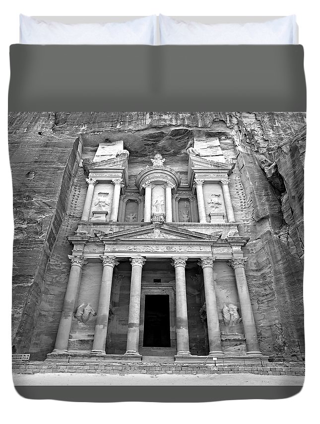 Petra Duvet Cover featuring the photograph The Treasury At Petra by Stephen Stookey