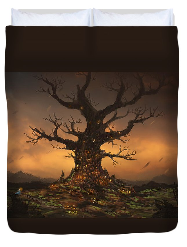 Tree Duvet Cover featuring the digital art The Tree by Cassiopeia Art