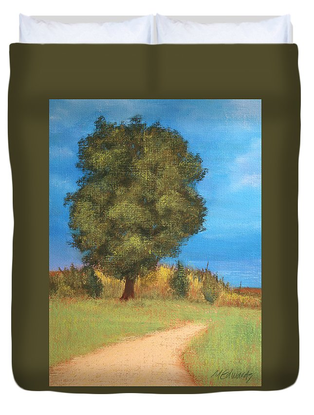 Tree Duvet Cover featuring the pastel The Tree by Marna Edwards Flavell