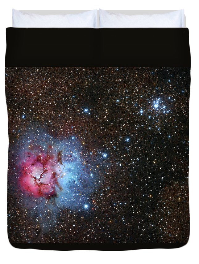 Horizontal Duvet Cover featuring the photograph The Trifid Nebula And Messier 21 by Lorand Fenyes