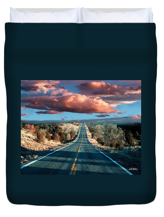 Roads Duvet Cover featuring the mixed media The Trip by Bill Stephens