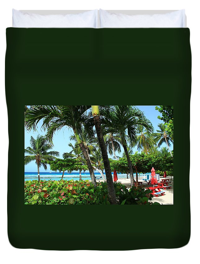 Barbados Duvet Cover featuring the photograph The Tropics by Catie Canetti