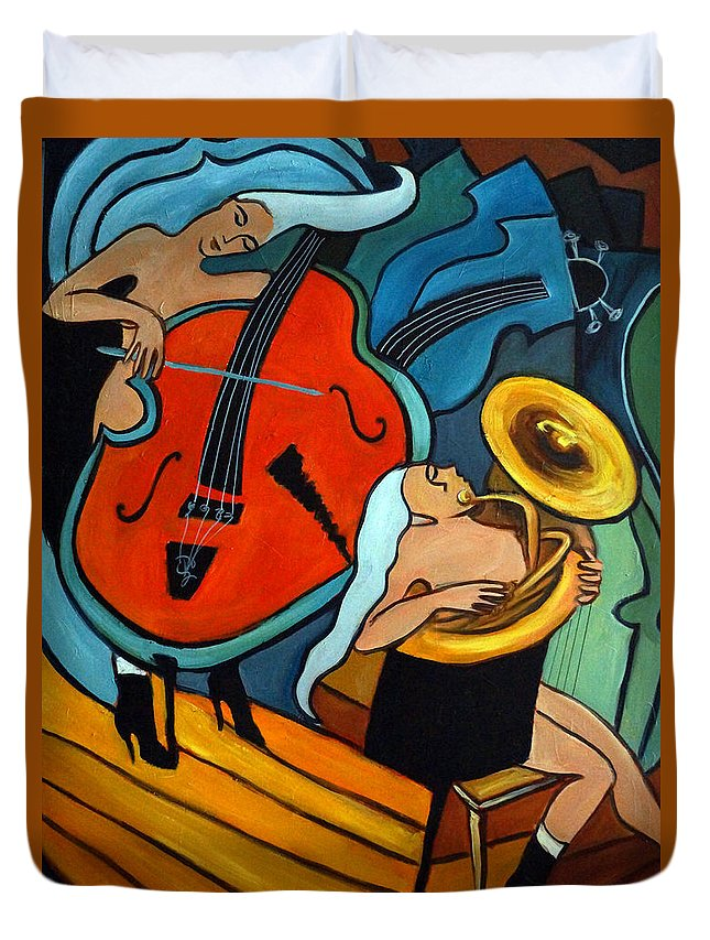 Musician Abstract Duvet Cover featuring the painting The Tuba Player by Valerie Vescovi