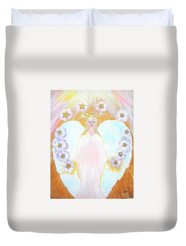 Angel Duvet Cover featuring the painting The Twelve Tribes Of Israel by Karen Jane Jones