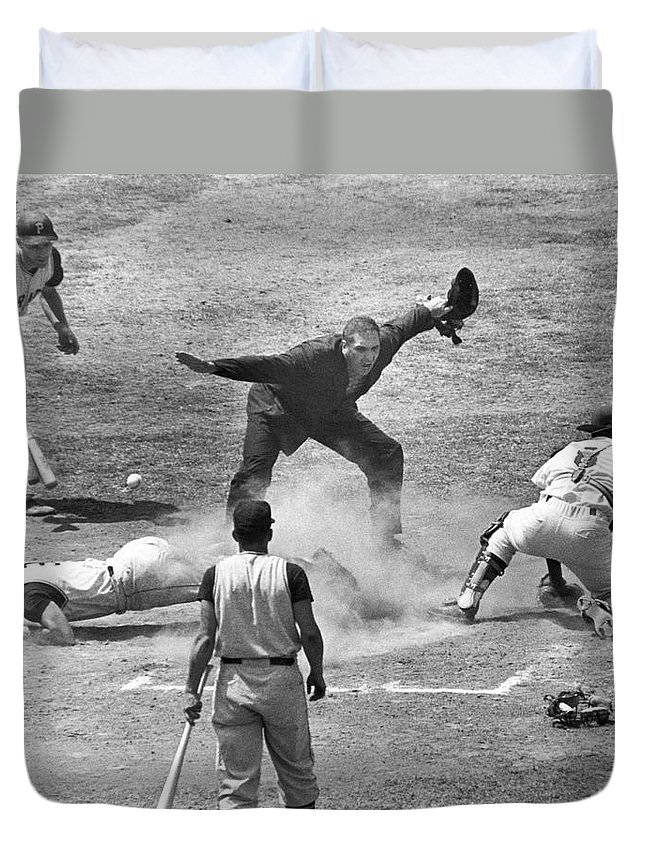 1950s Duvet Cover featuring the photograph The Umpire Calls It Safe by Underwood Archives