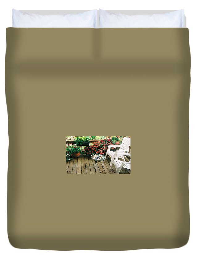 Flowers Duvet Cover featuring the photograph The Upper Deck With Stain Glass Table by Alan Lakin