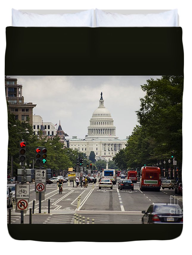 The Duvet Cover featuring the photograph The Us Capitol Building From Pennsylvania Avenue by B Christopher