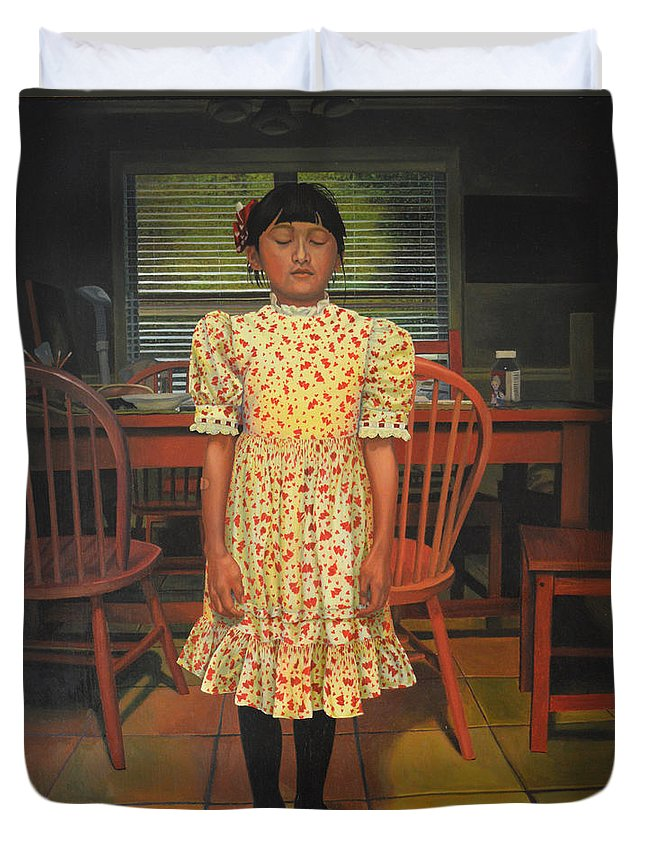 Children Paintings Duvet Cover featuring the painting The Valentine Dress by Thu Nguyen