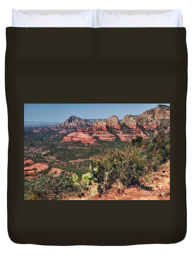 Sedona Duvet Cover featuring the photograph The Valley Below by Claudia Kuhn