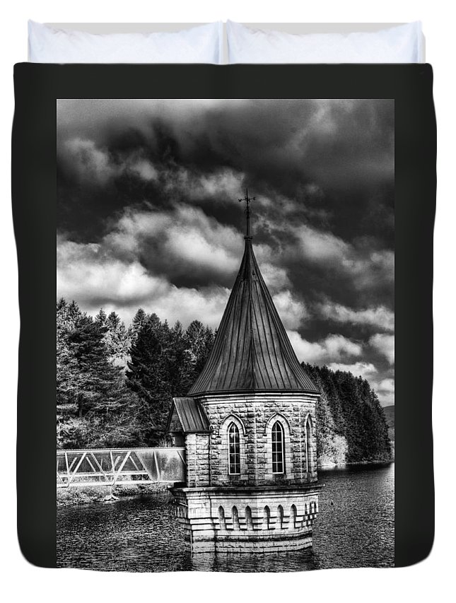 The Valve Tower Duvet Cover featuring the photograph The Valve Tower Mono by Steve Purnell