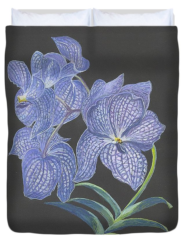 Blue Flower Duvet Cover featuring the painting The Vanda Orchid by Carol Wisniewski