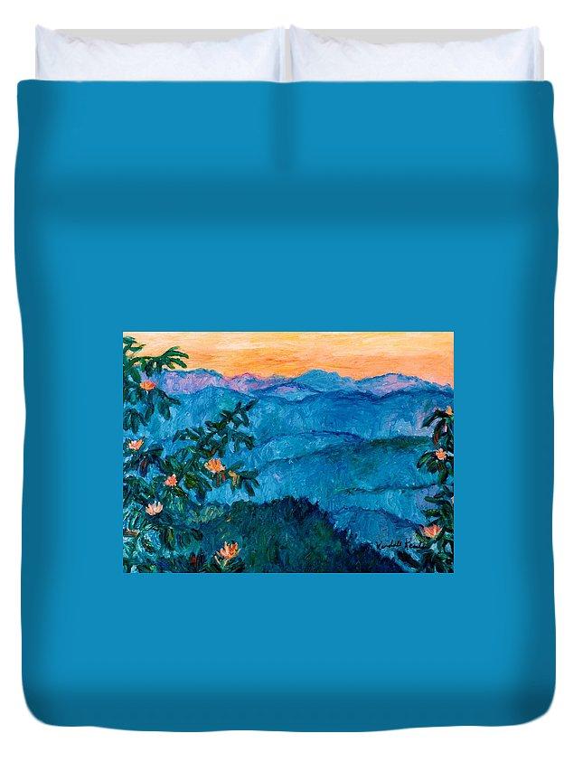 Kendall Kessler Duvet Cover featuring the painting The Very Blue Ridge by Kendall Kessler