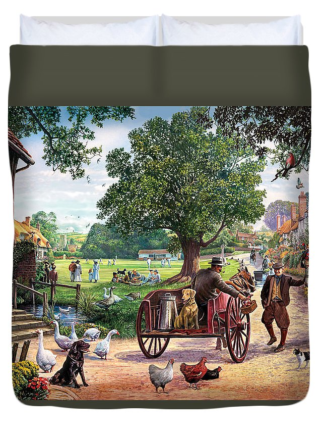 Animal Duvet Cover featuring the photograph The Village Green by Steve Crisp