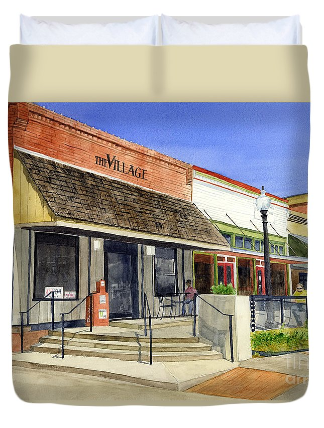 Downtown Duvet Cover featuring the painting The Village by Hailey E Herrera