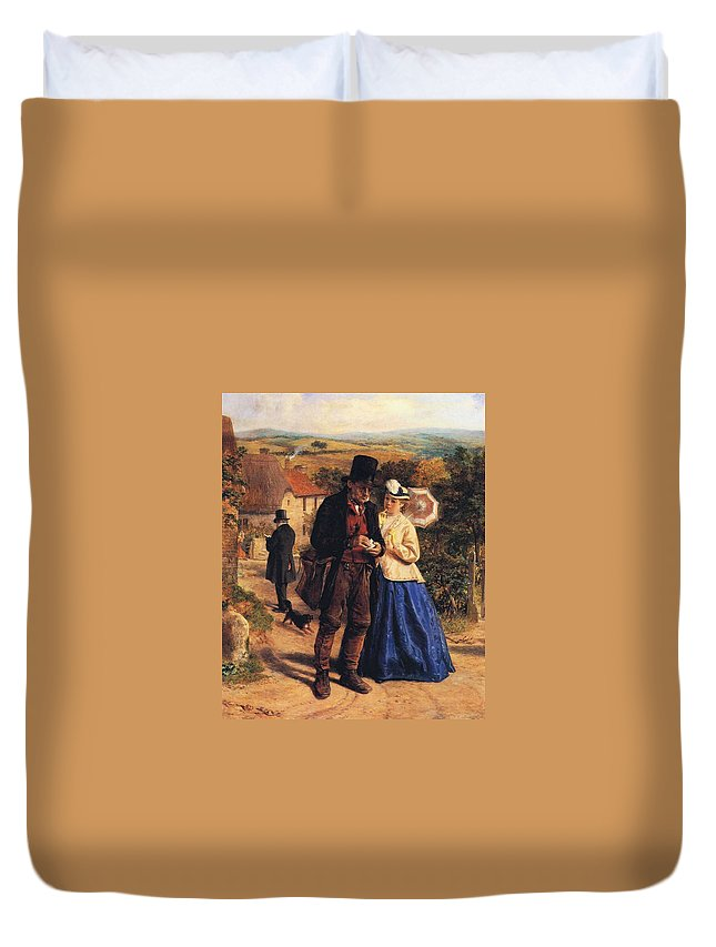 The Village Postman Duvet Cover featuring the digital art The Village Postman by William Hemsley