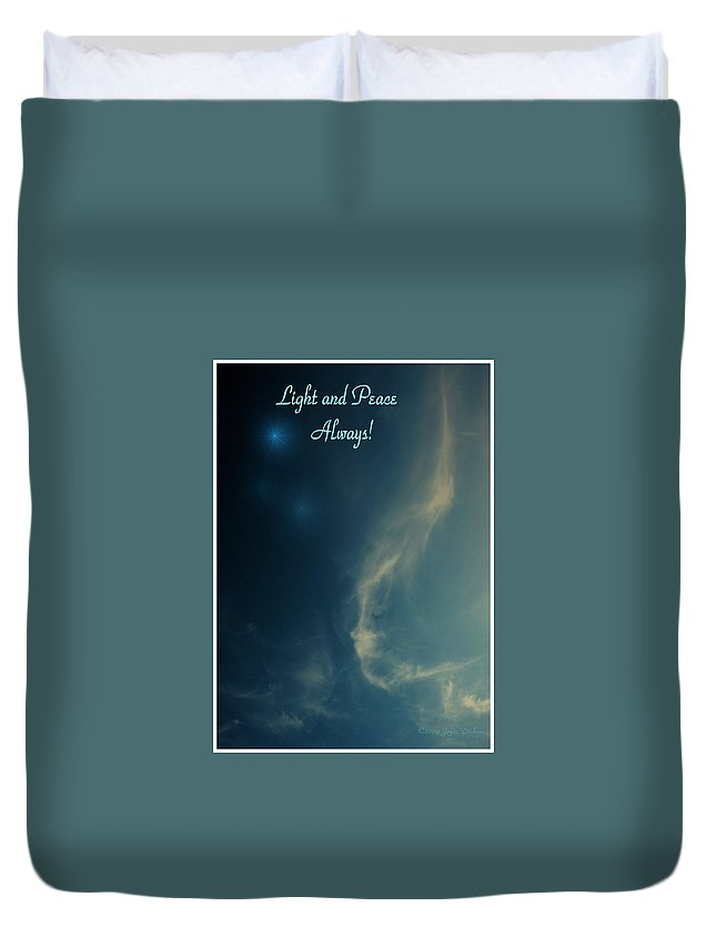 Cloudy Duvet Cover featuring the photograph The Visitor Light And Peace Always by Joyce Dickens