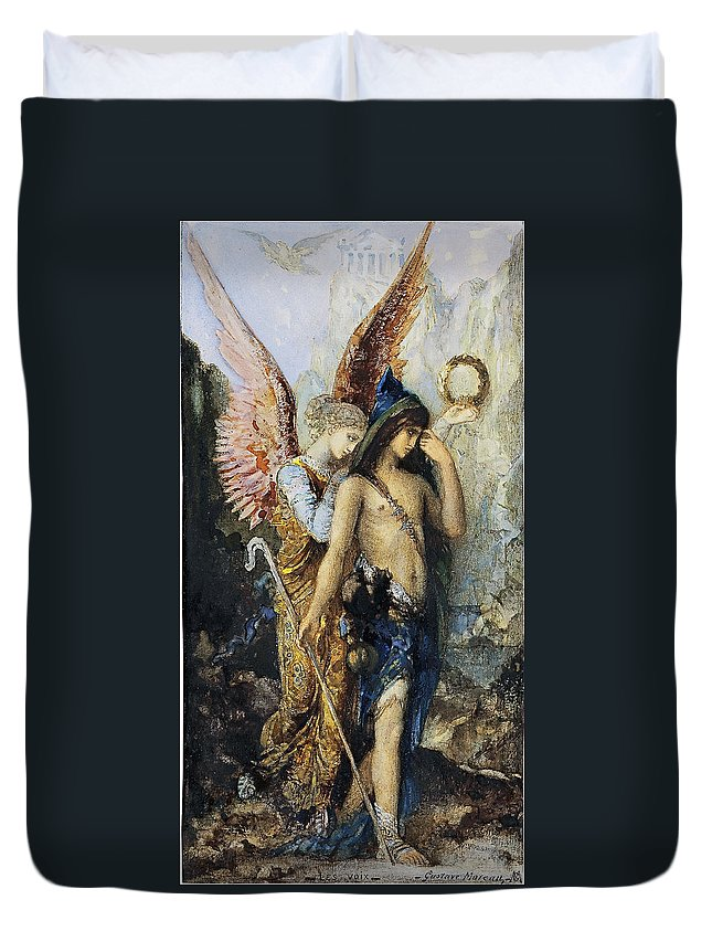 Gustave Moreau Duvet Cover featuring the painting The Voices. Hesiod And The Muse by Gustave Moreau