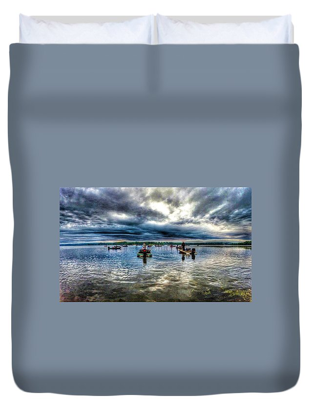 Lake Champlain Duvet Cover featuring the photograph The Wait To Launch by Erik Kaplan
