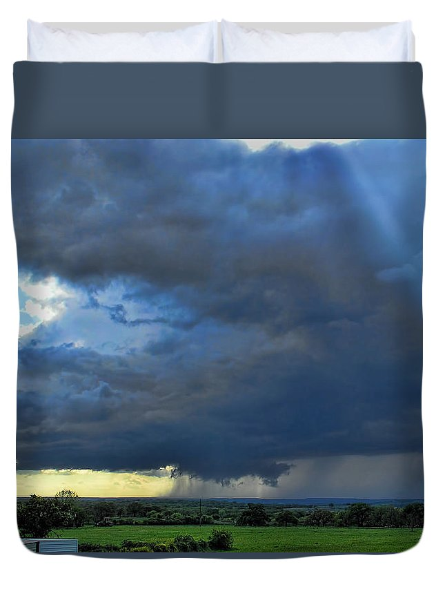 Storms Duvet Cover featuring the photograph The Wall Cloud by Shannon Story