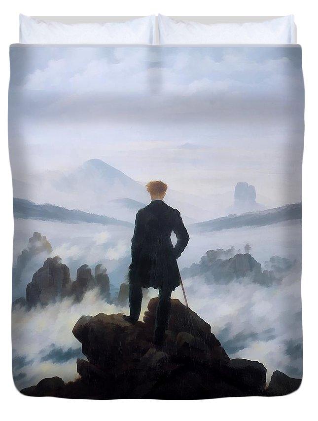 Caspar David Friedrich Duvet Cover featuring the digital art The Wanderer Above The Sea by Caspar David Friedrich