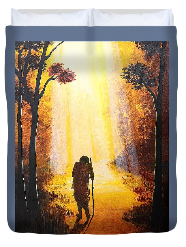 Art Duvet Cover featuring the painting The Wandering Ascetic by Nirdesha Munasinghe