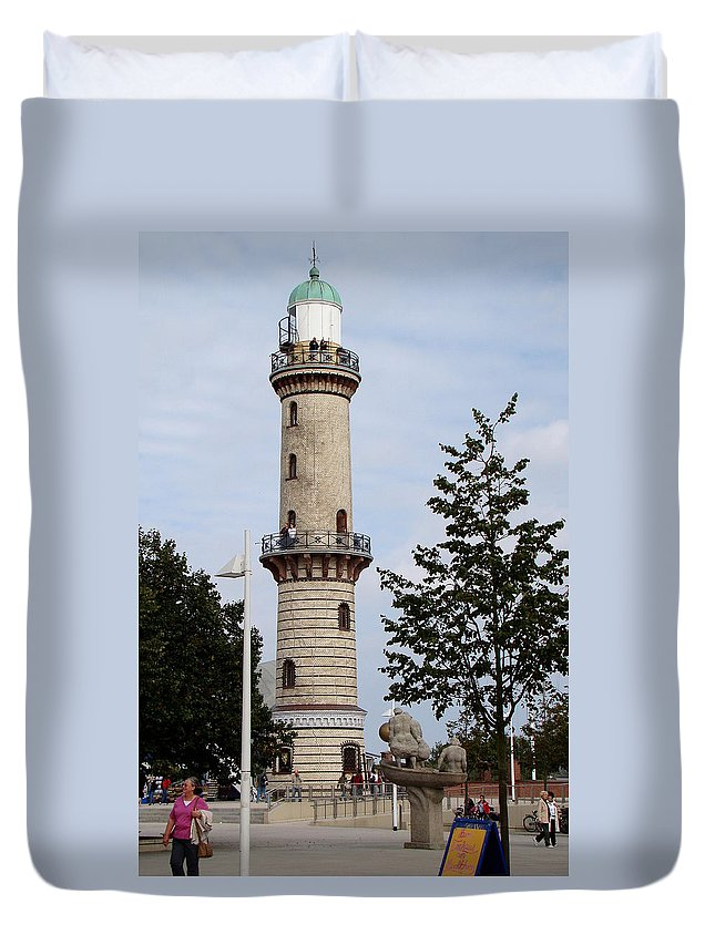Warnemunde Lighthouse Duvet Cover featuring the photograph The Wanemunde Lighthouse by Richard Rosenshein