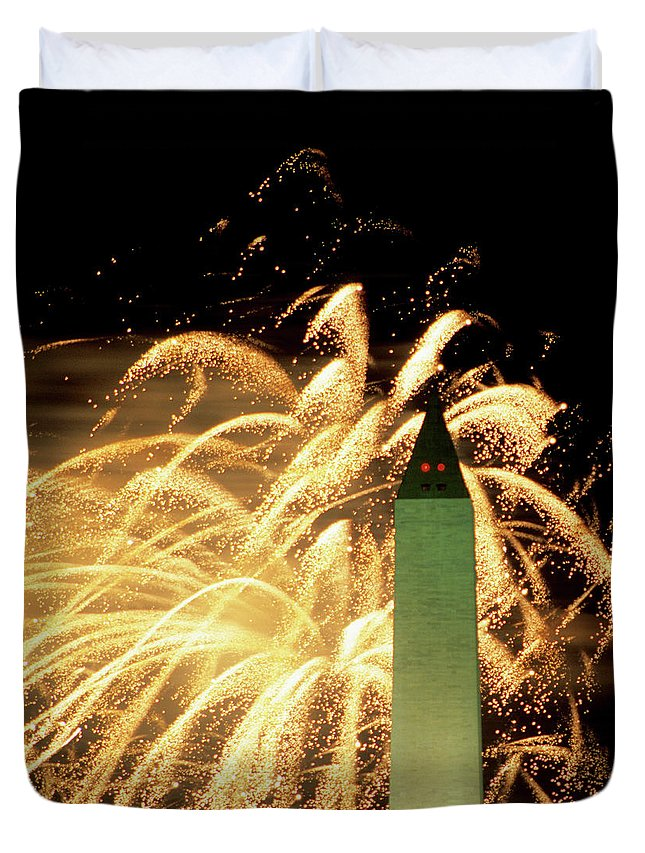 Firework Display Duvet Cover featuring the photograph The Washington Monument And Fireworks by Hisham Ibrahim
