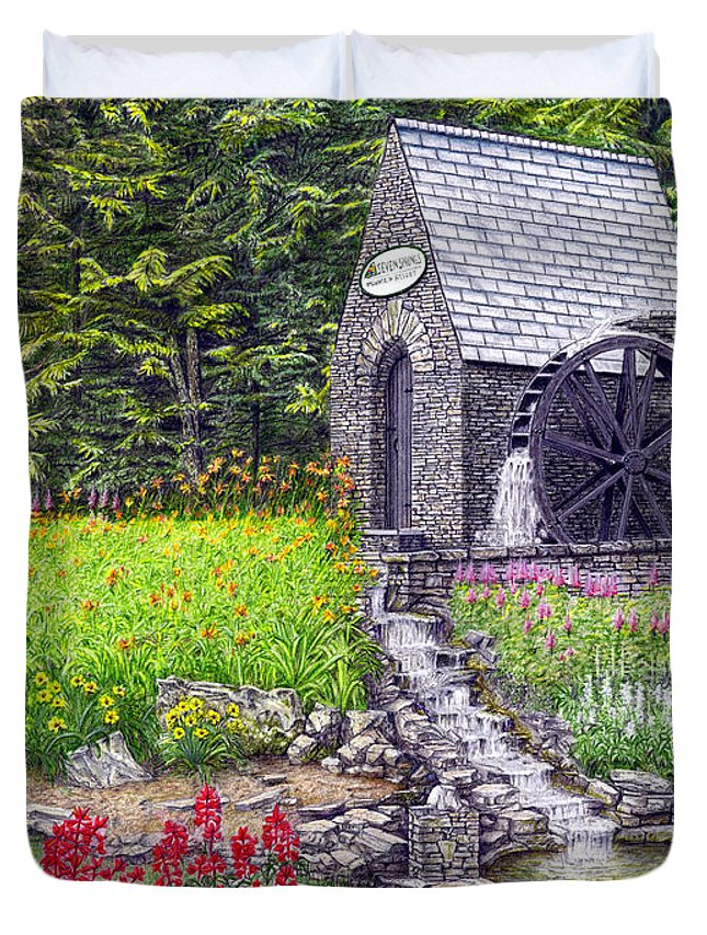 Golf Duvet Cover featuring the painting The Water Wheel At Seven Springs Mountain Resort by Albert Puskaric