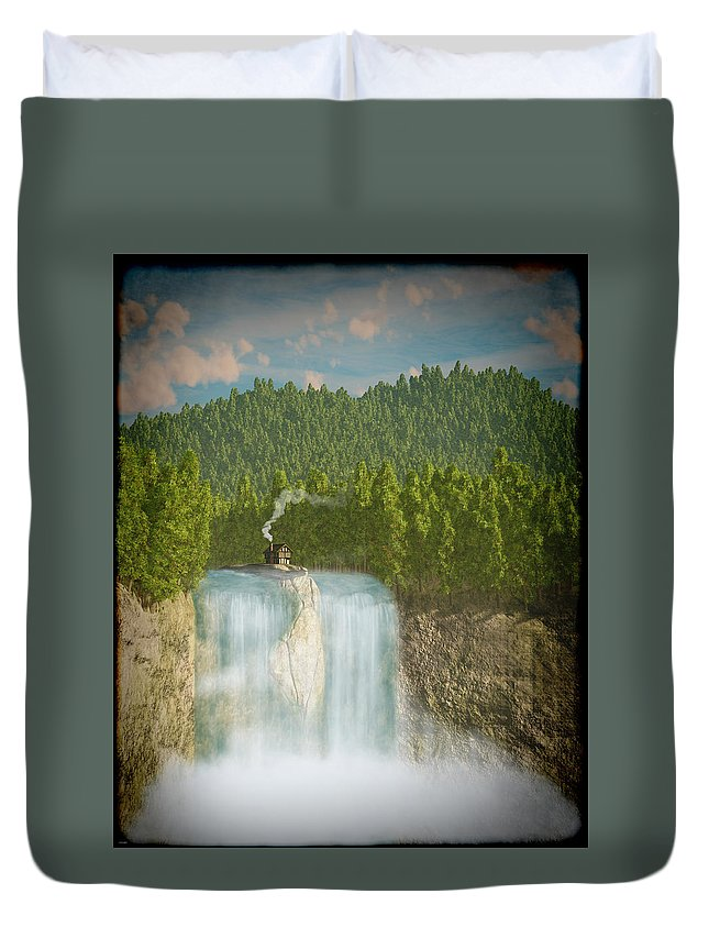 Landscape Duvet Cover featuring the digital art The Waterfall... by Tim Fillingim
