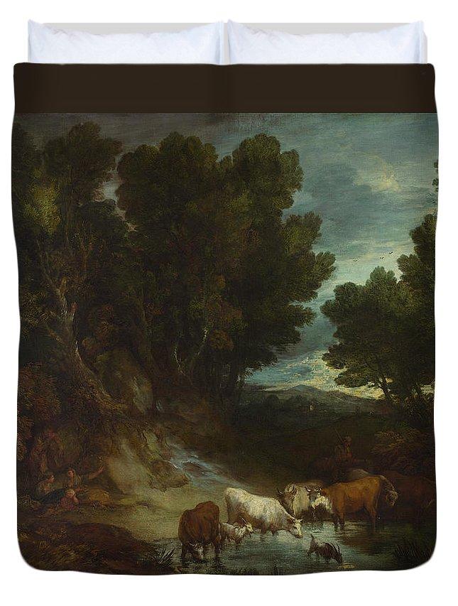 Thomas Gainsborough Duvet Cover featuring the painting The Watering Place by Thomas Gainsborough