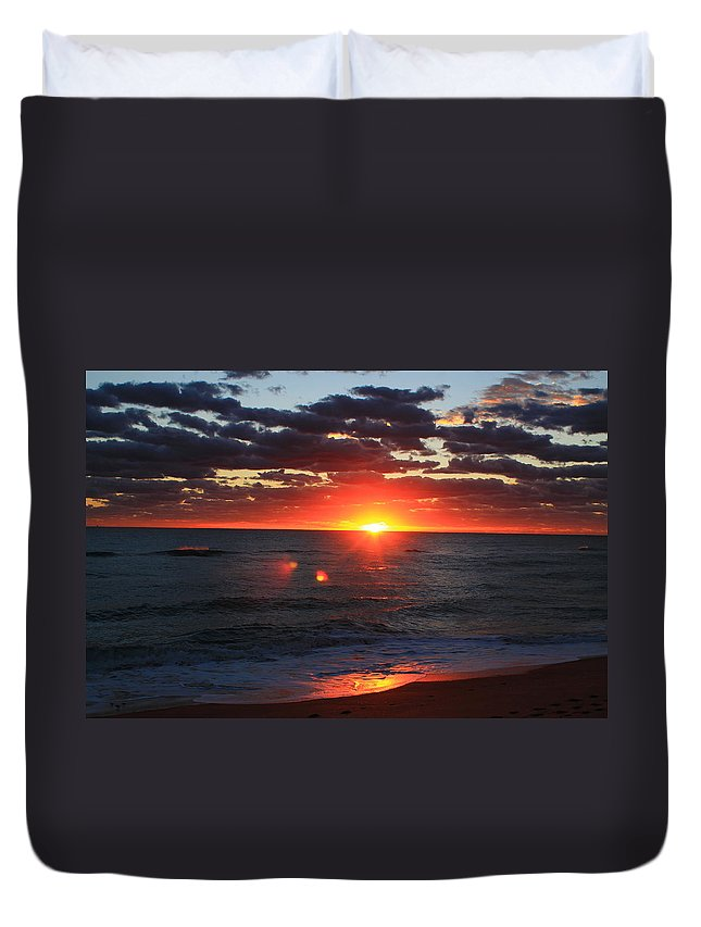 Jupiter Duvet Cover featuring the photograph The Wave by Catie Canetti