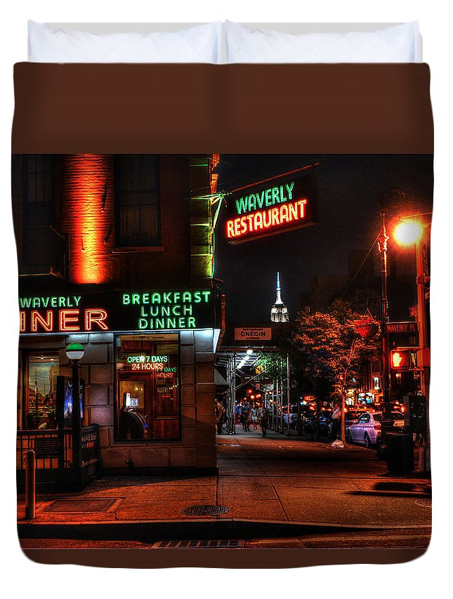 Waverly Diner Duvet Cover featuring the photograph The Waverly Diner And Empire State Building by Randy Aveille