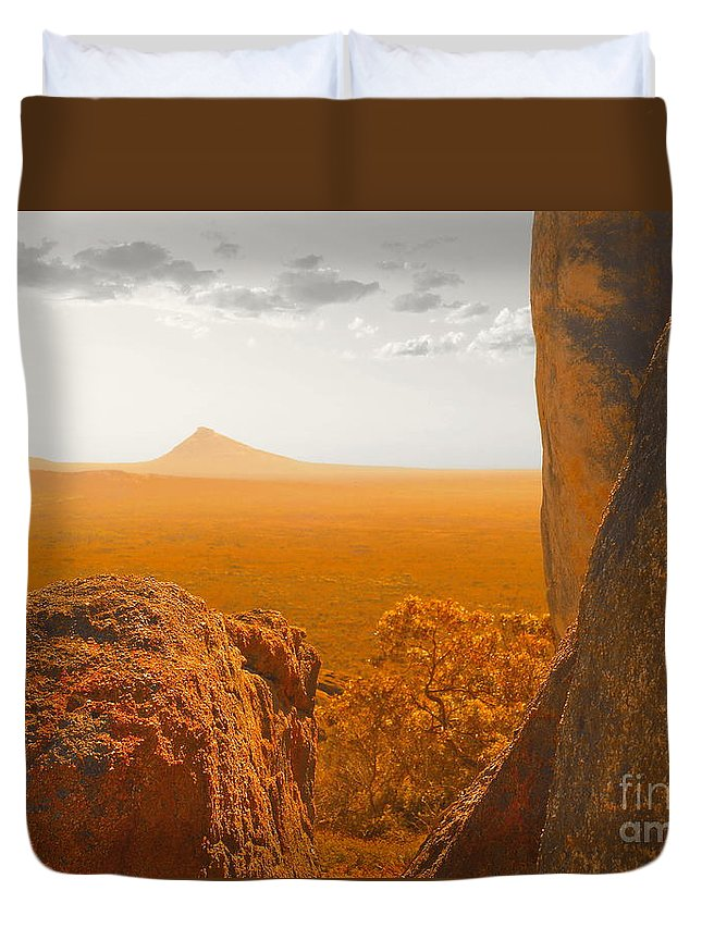 Color Photo Duvet Cover featuring the digital art The Way To Frenchman's Peak by Tim Richards