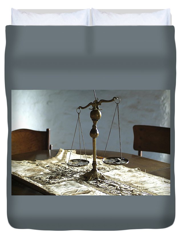 Weight Duvet Cover featuring the photograph The Weight Of Money by Lana Enderle