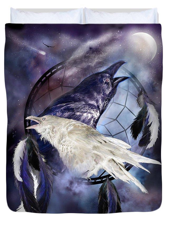Carol Cavalaris Duvet Cover featuring the mixed media The White Raven by Carol Cavalaris