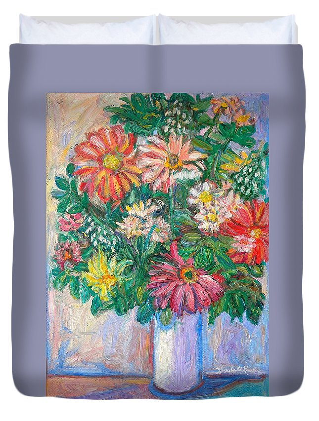 Still Life Duvet Cover featuring the painting The White Vase by Kendall Kessler