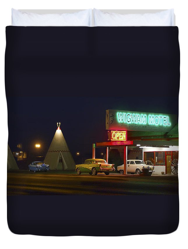 Travel Duvet Cover featuring the photograph The Wigwam Motel On Route 66 Panoramic by Mike McGlothlen