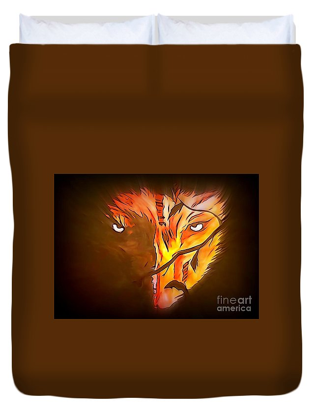 Justin Moore Duvet Cover featuring the painting The Wolf Is Watching by Justin Moore